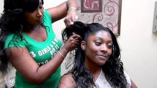 "getlinkyoutube.com-3 Girls and a Needle Braidless Sew-In procedure called ""Jennie Mae"""