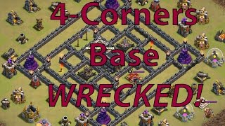 getlinkyoutube.com-Clash of Clans | 4 Corners Base WRECKED!! | Tutorial #1