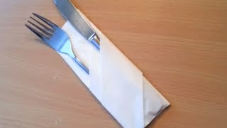 getlinkyoutube.com-Plier une serviette en range couvert - Décorer une table pour réception