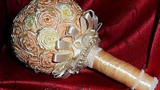 getlinkyoutube.com-Букет-дублер для невесты; букет-дублер своими руками; розы из атласных лент