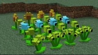 Minecraft Plants vs. Zombies 2 - Episode 1 Sunflower, Snow Pea, Repeater and Threepeater