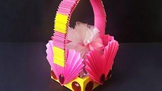 getlinkyoutube.com-DIY Paper Basket | Accordion Heart Shaped Paper Basket for Gifts | Kids Project Ideas