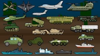 Learning Military Vehicles - Trucks, Airplanes and Ships - Children's Educational Flash Card Videos