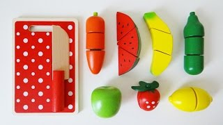 getlinkyoutube.com-Wooden toy velcro cutting fruit cooking playset