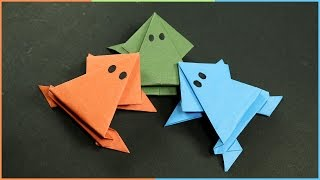 getlinkyoutube.com-Origami Frog that Jumps - Easy Fun Paper Craft for Kids