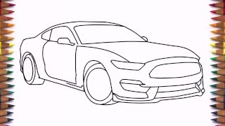 getlinkyoutube.com-How to draw a car Ford Mustang Shelby GT350 2016 step by step easy for beginners