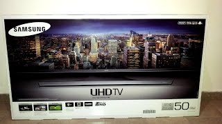 getlinkyoutube.com-Samsung UE50JU6400W  (Unboxing, Stand assembly, first boot/setup) UHD 4K Smart TV Greece