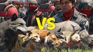 getlinkyoutube.com-Far Cry 4 - Soldier Army VS Animal Army - AI Battle