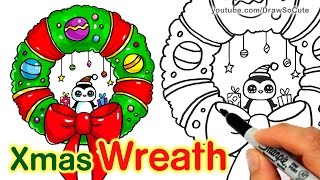 getlinkyoutube.com-How to Draw a Wreath step by step Easy and Cute for Christmas