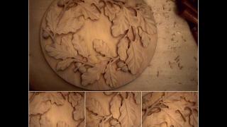 getlinkyoutube.com-Резьба по дереву. Ветка с дубовыми листьями - 15 часть.