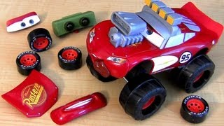 getlinkyoutube.com-Monster Truck Gear Up n Go Lightning McQueen CARS 2 Buildable Toy From Disney Pixar Toys