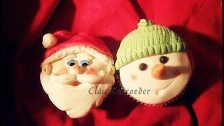 getlinkyoutube.com-Cupcake Natalino Boneco de Neve - Pasta Americana (Fondant)