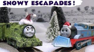 getlinkyoutube.com-Thomas The Train Christmas Prank Toy Accident Story Carols Tom Moss Train Set Toys