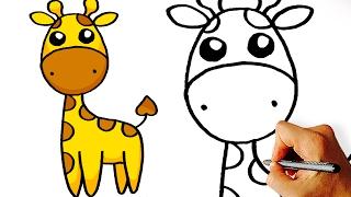 Very Easy! How to Draw Cute Cartoon Giraffe. Art for Kids!