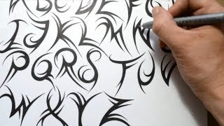 getlinkyoutube.com-How to Draw a Tribal Font