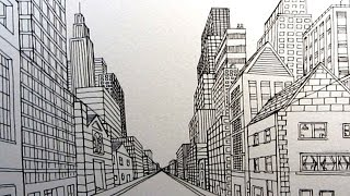 getlinkyoutube.com-How to Draw a City Street in One Point Perspective: Narrated