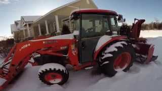 getlinkyoutube.com-Kubota cold start and snowblowing