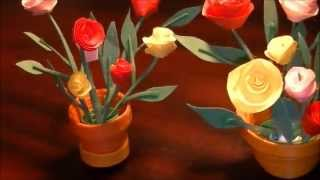 getlinkyoutube.com-Miniature quilling Rose pot in 3D with NO TOOLS :)