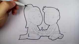 getlinkyoutube.com-การ์ตูน ลอยกระทง คู่ชายหญิง วาดการ์ตูน กันเถอะ สอนวาดรูป การ์ตูน ep01