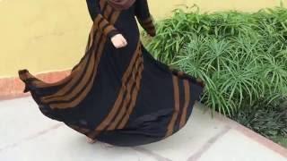 getlinkyoutube.com-Aashee's Pearl-Brown Stripes Umbrella Abaya