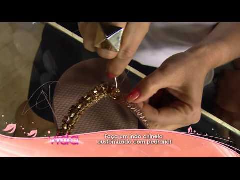 Faça um indo chinelo customizado com pedraria!