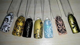 getlinkyoutube.com-Дизайн ногтей. Маникюр. Вензеля. Гель-лак. Shellac, gel polish