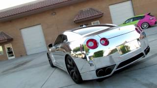 getlinkyoutube.com-Nissan GTR R35 Wrapped in Silver Chrome By Impressive Wrap