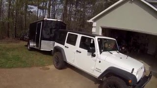getlinkyoutube.com-O|||||O 2014 Jeep Wrangler Unlimited JK - 6x10 Enclosed Cargo Trailer - Toy Hauler Camper Conversion