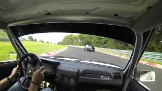 getlinkyoutube.com-205 GTI vs Megane RS and Yamaha R1 battle Nordschleife 8.30 BTG