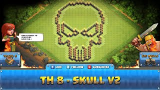getlinkyoutube.com-★ Clash of Clans Troll Base ★ TH8 - Skull V2 Hybrid