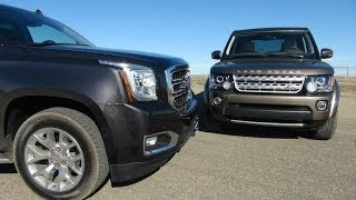 getlinkyoutube.com-2015 GMC Yukon vs Land Rover LR4 Drag Race