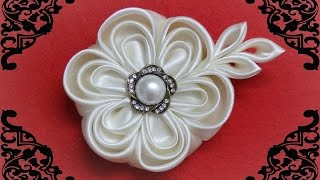 getlinkyoutube.com-DIY kanzashi flower,wedding kanzashi flower accessoire tutorial, flores de cinta