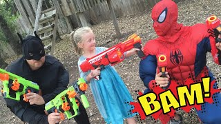 Kid Heroes 15 - The Cop Car, The Nerf Battle,  and Elsa's GIANT SURPRISE for Batman and Spiderman!