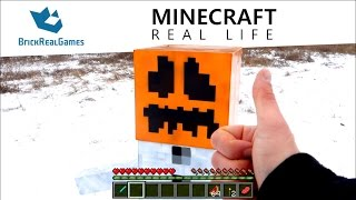 getlinkyoutube.com-Minecraft Real Life - I made real Snow Golem!!! - BrickRealGames