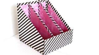 {DIY} 3 Pocket Magazine Holder    Cardboard Storage