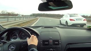 getlinkyoutube.com-Mercedes C63 AMG Onboard Kickdown Acceleration Autobahn Highway Beschleunigung Drive V8 Sound W204