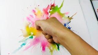 getlinkyoutube.com-Splatter Punch : Wet in wet Watercolor Technique