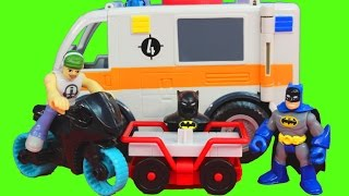 Imaginext Joker and Bane take Batman cape from Robin Batcave Dc Superhero toy