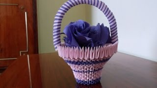 getlinkyoutube.com-3D Origami basket with flowers tutorial