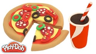 getlinkyoutube.com-Modelling Clay How to Make a Pizza Creative Fun for Kids with Play-Doh RainbowLearning