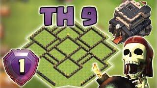 getlinkyoutube.com-Clash of Clans - Melhor layout cv9 2016   Pushing/Hybrid ( TROLL BASE TH9)