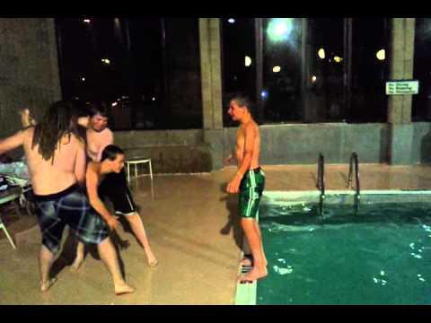 Human torpedo into pool