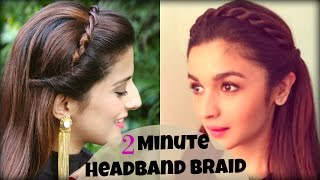 getlinkyoutube.com-CUTE & EASY 2 Min Everyday Headband Braid For School, College, Work | Alia Bhatt | Indian Hairstyles