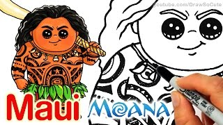 getlinkyoutube.com-How to Draw Maui step by step Chibi - Disney Moana