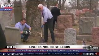 WOW: Vice President Pence Joins Jewish Prayer, Helps Clean Up VANDALIZED Jewish Cemetery in St Louis