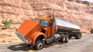 getlinkyoutube.com-BeamNG Drive - Trucks vs Bollard Crash Tests