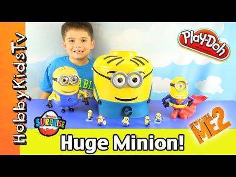 Play-Doh Giant Lego Head MINION Makeover! Surprise KINDER Egg, HobbyKidsTV