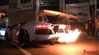 getlinkyoutube.com-FLAMETHROWER KING!  Lamborghini Aventador Liberty Walk widebody spitting flames at SEMA 2014!!
