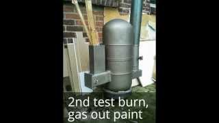 getlinkyoutube.com-How to make a Rocket Heater out of two gas bottles