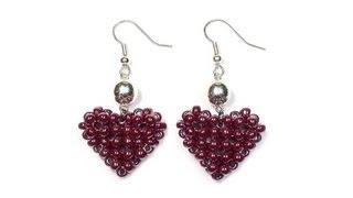 getlinkyoutube.com-Tutorial: Beaded ❤ HEART ❤ Earrings / МК: Серьги из бисера СЕРДЕЧКИ